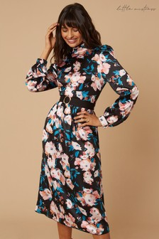 Little Mistress Remi Satin Floral-Printed Belted Midi Dress