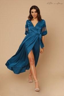 Little Mistress Drew Satin Lace Sleeve Wrap Maxi Dress