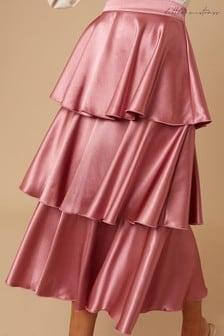 Little Mistress Reign Deep Mink Satin Tiered Midi Skirt