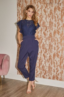 Little Mistress Caitlyn Lace Frill Tapered Jumpsuit