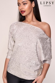 Lipsy Special Glitter Slash Neck Top