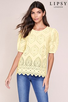 Lipsy Broderie Puff Sleeve Top