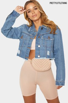 PrettyLittleThing Light Wash Raw Edge Cropped Denim Jacket