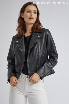 Dorothy Perkins Black Real Leather Biker Jacket