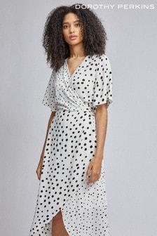 Dorothy Perkins Mono Spot Twist Midi Dress