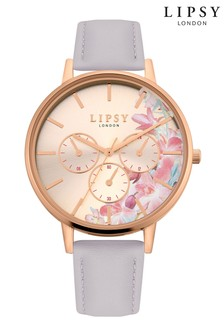 Lipsy Floral Leather Strap Watch