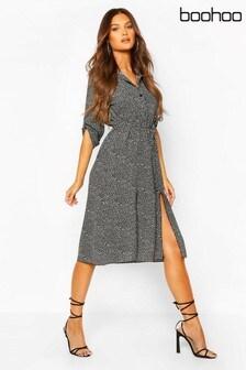 Boohoo Leopard Split Midi Shirt Dress