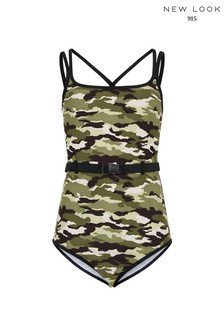 New Look Girls Camo Belted Swimsuit