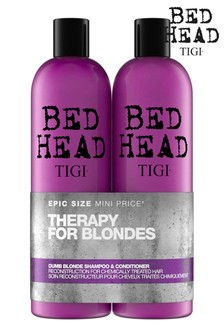Tigi Bed Head Dumb Blonde Tween Duo Repair Shampoo & Reconstructor Conditioner for Coloured Hair 2x750ml