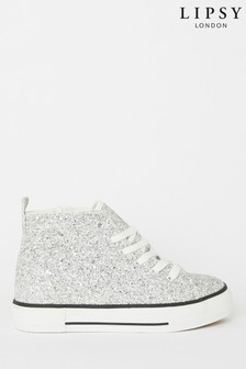 Lipsy Girl Glitter High Top Lace Up Trainer