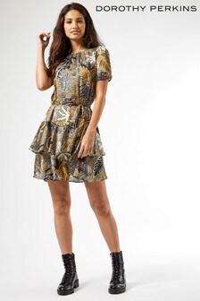 Dorothy Perkins Ochre Tropical Frill Dress