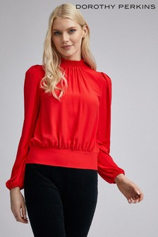 Dorothy Perkins Shirred Neck Long Sleeve Top