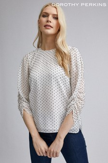 Dorothy Perkins Spot Ruched Sleeve Detail Top