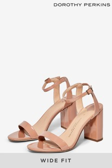 Dorothy Perkins Wide Fit Shimmer Heeled Sandals