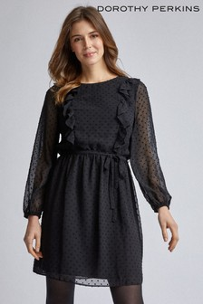 Dorothy Perkins Dobby Ruffle Fit And Flare Dress