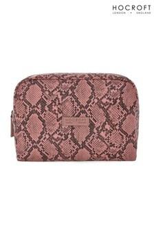 Hocroft London Tallulah Large Wash Bag Pink Snakeskin