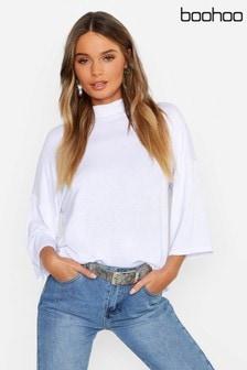 Boohoo Basic Oversized High Neck Three-Quarter Sleeve T-Shirt
