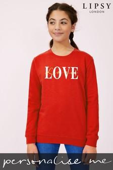 Personalised Lipsy Love Text Script Kid's Sweatshirt by Instajunction