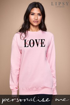 Personalised Lipsy Love Text Script Women's Sweatshirt by Instajunction