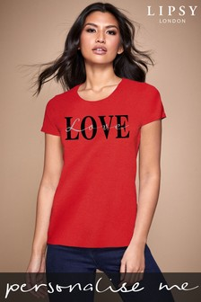 Personalised Lipsy Love Text Script Women's T-Shirt by Instajunction