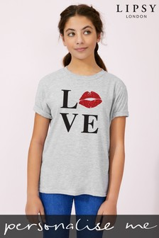 Personalised Lipsy Love Kiss Lips Kid's T-Shirt by Instajunction