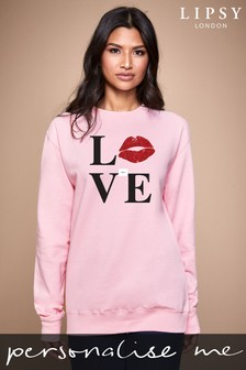 Personalised Lipsy Love Kiss Lips Women's Sweatshirt by Instajunction