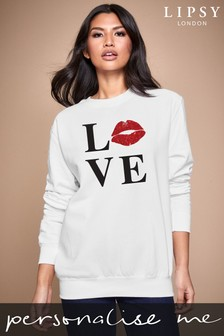 Personalised Lipsy Love Kiss Lips Women's Sweatshirt by Instajunction