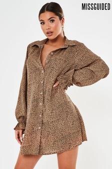 Missguided Frill Cuff Dalmatian Shirt Dress