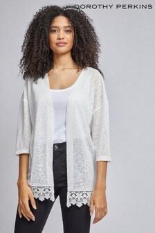 Dorothy Perkins Crochet Hem Faux Linen Kimono