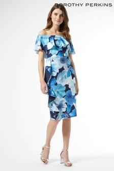 Dorothy Perkins Luxe Blue Floral Bardot Dress