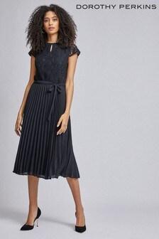 Dorothy Perkins Alice Lace Pleated Midi Dress