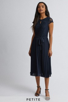 Dorothy Perkins Petites Navy Alice Lace Pleated Dress