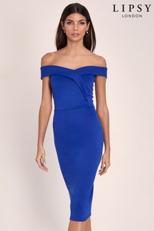 Lipsy Scuba Bardot Midi Dress