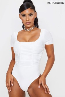 PrettyLittleThing Slinky Ruched Panelled Short Sleeve Bodysuit