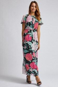 Dorothy Perkins Floral Pleat Front Key Hole Angel Sleeve Maxi Dress