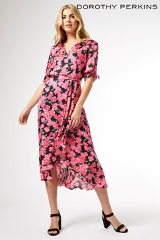 Dorothy Perkins Floral Satin Midi Dress