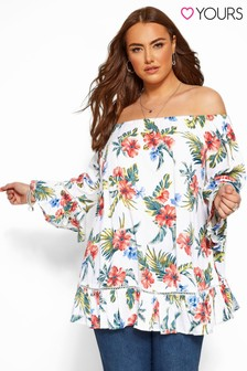 Yours Curve Bardot Gypsy Print Top