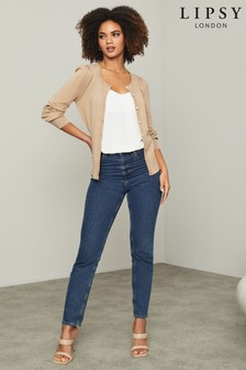 Lipsy Knitted Blouson Sleeve Diamante Button Cardigan