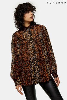Topshop Animal Print Flocked Oversized Blouse