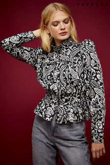 Topshop Paisley Shirred Blouse