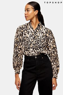 Topshop Animal Print Dramatic Sleeve Blouse