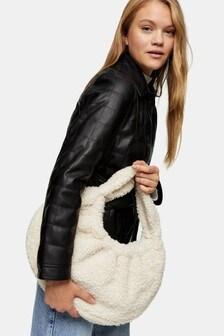 Topshop Borg Scrunch Shoulder Bag