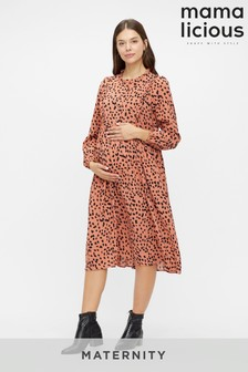Mamalicious Maternity Polka Dot Print Midi Dress