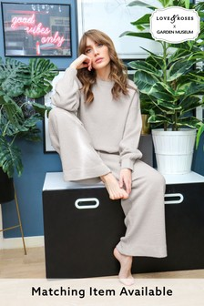 Love & Roses Waffle Knitted Wide Leg Trousers