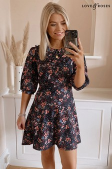 Love & Roses Floral Jersey Collared Skater Dress