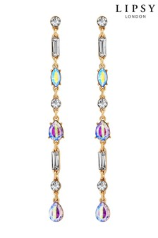 Lipsy Gold Plated Crystal Mixed Stone Linear Drop Earring