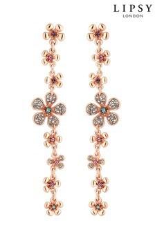 Lipsy Rose Gold Plated Flower Linear Drop Earring