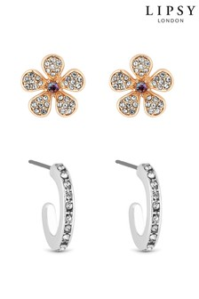 Lipsy Jewellery Two Tone Flower Stud And Hoop - Pack of 2 Earring