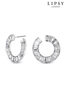 Lipsy Jewellery Crystal Baguette Front To Back Hoop Earring