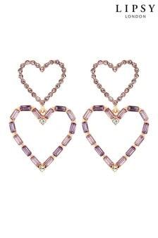 Lipsy Jewellery Plated Crystal Double Drop Heart Earring